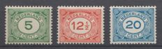 The Netherlands 1921/1922 - Number stamps - NVPH 107/109, with inspection befund