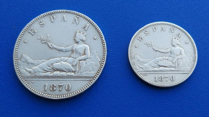 Spain - Lot of two Provisional Government coins, 5 pesetas1870*18*70 SN M and 2 pesetas 1870*18*73 DE M - Madrid