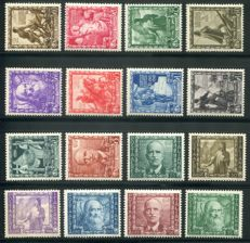 Kingdom of Italy 1938 - 'Proclamazione dell'impero' series of 16 values, ordinary mail and airmail – Sass. Nos.  439/448 and A111/A116
