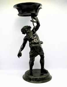 Large bronze sculpture of a drunk Silenus according to the antique model - Italy/France - ca. 1900
