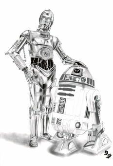 R2-D2 & C3PO - Star Wars - Original Charcoal and Graphite Drawing - Diego Septiembre