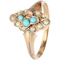 14 kt - yellow gold ring set with cultured pearls, turquoise - ring size: 16.75 mm