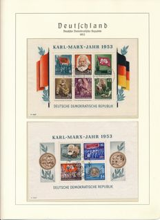 GDR or East Germany - 1949 - 1969 - complete collection with  German Chinese friendship and Marx blocks in Leuchtturm album