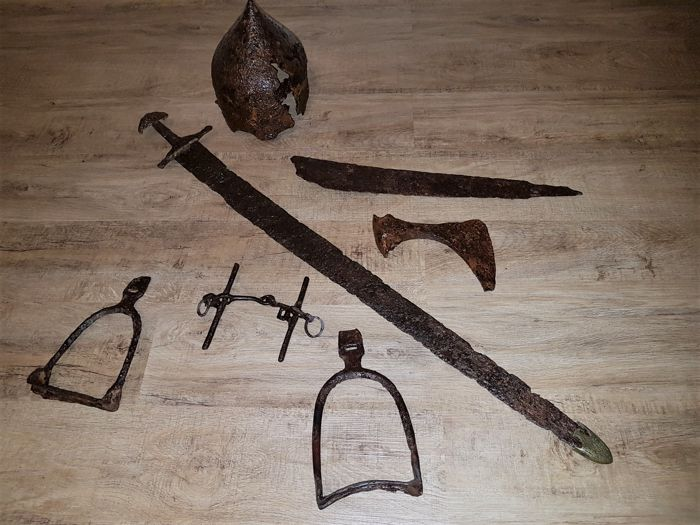 Viking helmet + sword + axe + scramasax + bridle + step of a Khazar (steppe Russia) (7)