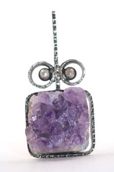 Beautiful pendant made of 835 silver with amethyst - 54.46 x 25.53 mm - handmade