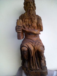 Wooden statue depicting Moses with the Tablets of the Law - revisiting Michelangelo's Moses - Northern Italy - 18th century
