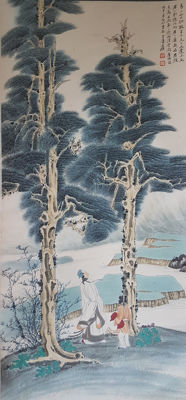 Hand-painted chinese scroll painting《张大千-高仕图》- China - late 20th century