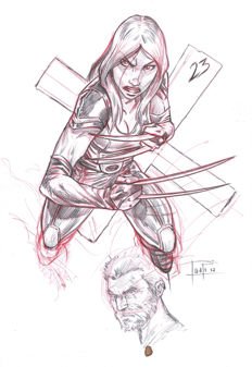 X23 / Laura Kinney by Juapi - Original Preparatory Sketch