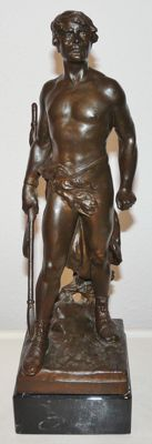 Maurice Bouval (1863 - 1916) - spelter sculpture of a warrior - France - ca. 1900