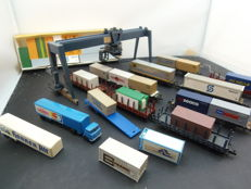 Vollmer/Fleischmann N - Container crane, with lorries, wagons and many containers