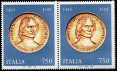Italy 1992 -  Lorenzo de Medici with variety: clear Medallion in pair of two –  Sass. N. 1620Aa