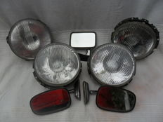 Lot of 4 car lights and 3 chrome-plated mirrors - 1960s