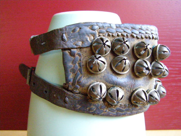 Leather Dance Anklet with 48 Brass Ringing Bells - West Africa - Length 51/30 cm and 469 grams