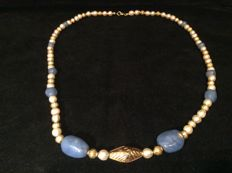Necklace with Ancient Blue Chalcedony, Gold and Pearls - 63 cm.