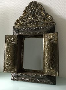 Patinated copper latoen mirror - with door and brushes - 20th century
