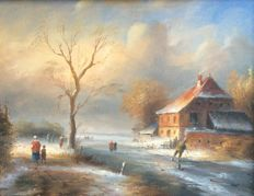Unknown (20th century) - Winter landscape with ice skaters