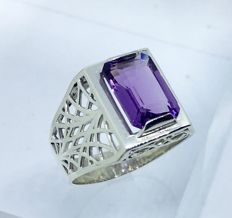Amethyst 3.97cts Men's 925 silver rings-size 11