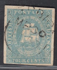 British Guiana 1853 - 4 cents  light blue - Stanley Gibbons 20