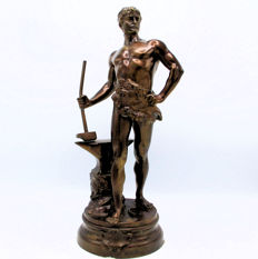 Maurice Constant (1892-1970) - patinated bronze sculpture of a smith - France - ca. 1920