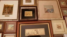Beautiful lot of 20x small paintings, finished in 22 kt gold leaf (many are also signed)