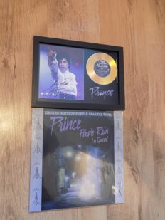 "Prince "" Purple Rain "" framed CD & Prince "" Purple Rain In Concert "" purple vinyl LP."