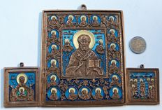 "Russian Orthodox travel - bronze castings – ""Nicholas the Wonderworker"" and ""Joy of All Who Sorrow"" and ""The icon of the Mother of God, called the ""Sign"""