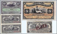 Cuba - collection of 5 banknotes 1896
