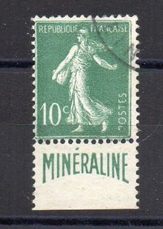 France 1924 - 10 c green MINERALINE background seed sower - Yvert no. 188A