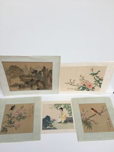 Five paintings on silk - China - end of the 20th century