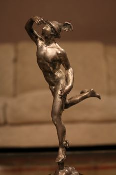 Classical metal sculpture depicting Hermes after Giambologna - dated 1931