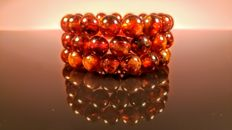 Set of 3 Baltic Amber modified beads bracelets in Cherry colour, 45 grams