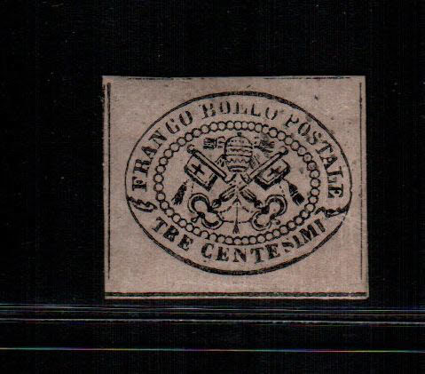 Papal State 1867 - 3 cent grey-pink Papal Coat of Arms - Sassone No. 14