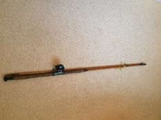 English split-cane sea fishing rod with a reel Early 20th century