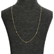14 kt - yellow gold Venetian link necklace with spacers - length: 42 cm