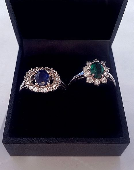Two women's rings - gold 9 kt and silver 925 - with central Sapphire and tourmaline