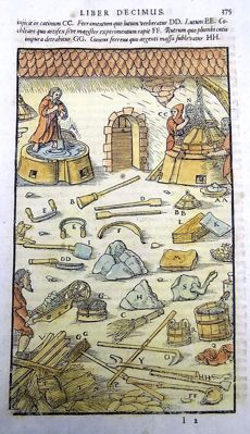 Mining; Georgius Agricola - Large woodcut in hand colour on one folio leaf; tools & methods for separating silver from gold and lead from gold or silver- ca. 1580