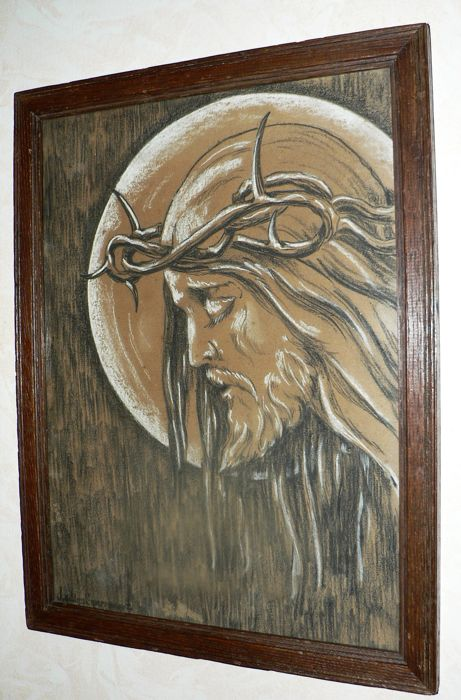 Original chalk drawing, pastel with wooden frame, Jesus with Crown of thorns, Ostend (Belgium) - 20 ° century