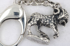 """Antique 835 silver pendant """"Capricorn"""" including key chain made of 925 silver - 10.5 cm"""