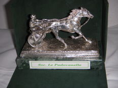 "Prize statuette for the winner of the race at the Padua racetrack ,"" il fantino guida la carrozzino""  - silver plated - Padua, Italy - circa 1970"