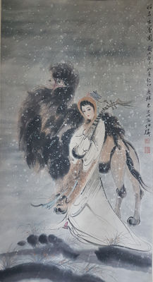 Hand-painted chinese scroll painting《白伯骅-昭君出塞》- China - late 20th century