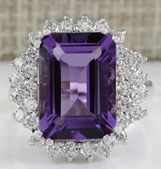 7.50 Carat Amethyst And Diamond Ring In 14K Solid White Gold - Ring Size: 7 *** Free Shipping *** No Reserve *** Free Resizing ***