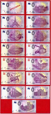 France - Special collector's collection of 15 Euro Souvenir banknotes of €0 + Deluxe album - Years 2015-2017