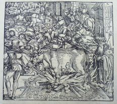 Master of Petrarch [Hans Weiditz 1495-1537] - Large Woodcut on folio leaf: Rebellion [ Aufstand, Révolte, Opstand]; the Brazen Bull torture [ Sizilianischer Bulle, Taureau d'airain, Messingen stier ] - 1532