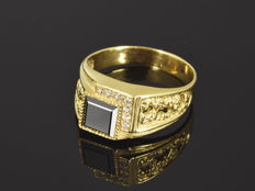 14 kt gold - Ring with Onyx - Size: 64 (ø 19.4 mm)