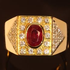 Vintage unisex ring with diamonds and ruby - Free Resizing - circa 1950