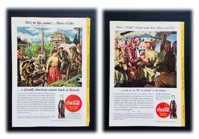 Lot of ( 2 ) Coca Cola Amazing Advertising World War II - December 1943 & June 1945 - Very Good Condition
