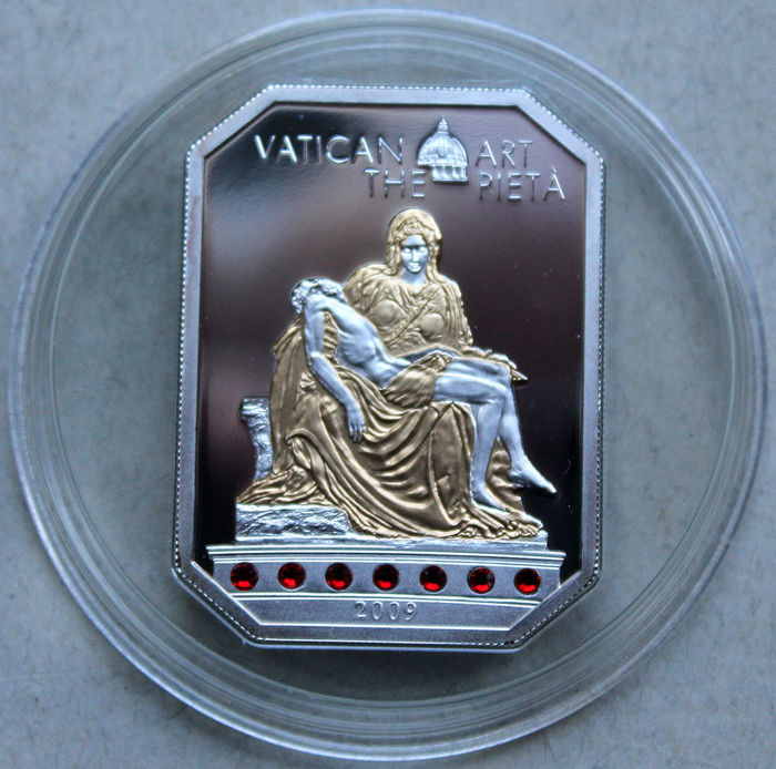 Cook Islands - 5 Dollars 2009 'Vatican Art - The Pieta' mit Swarovski crystal -  silver