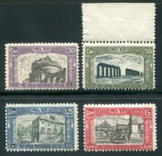 Italy, Kingdom 1928 - 'Pro Opera Previdenza M.V.S.N.' 2nd print run, series of 4 ordinary post stamps - Sass.  N°  220/223