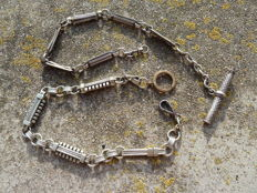Two silver pocket watch chains, France - 19th century, no reserve.