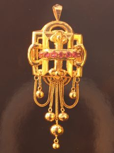 Victorian yellow gold pendant with pink stones - anno 1870